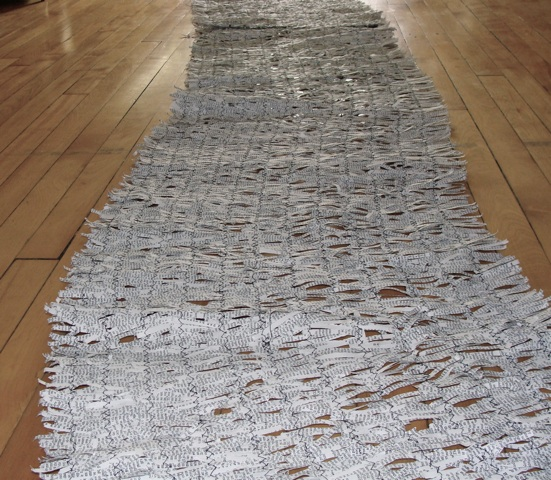 words , 2011 shredded dictionary, thread , 4 x .5 metres