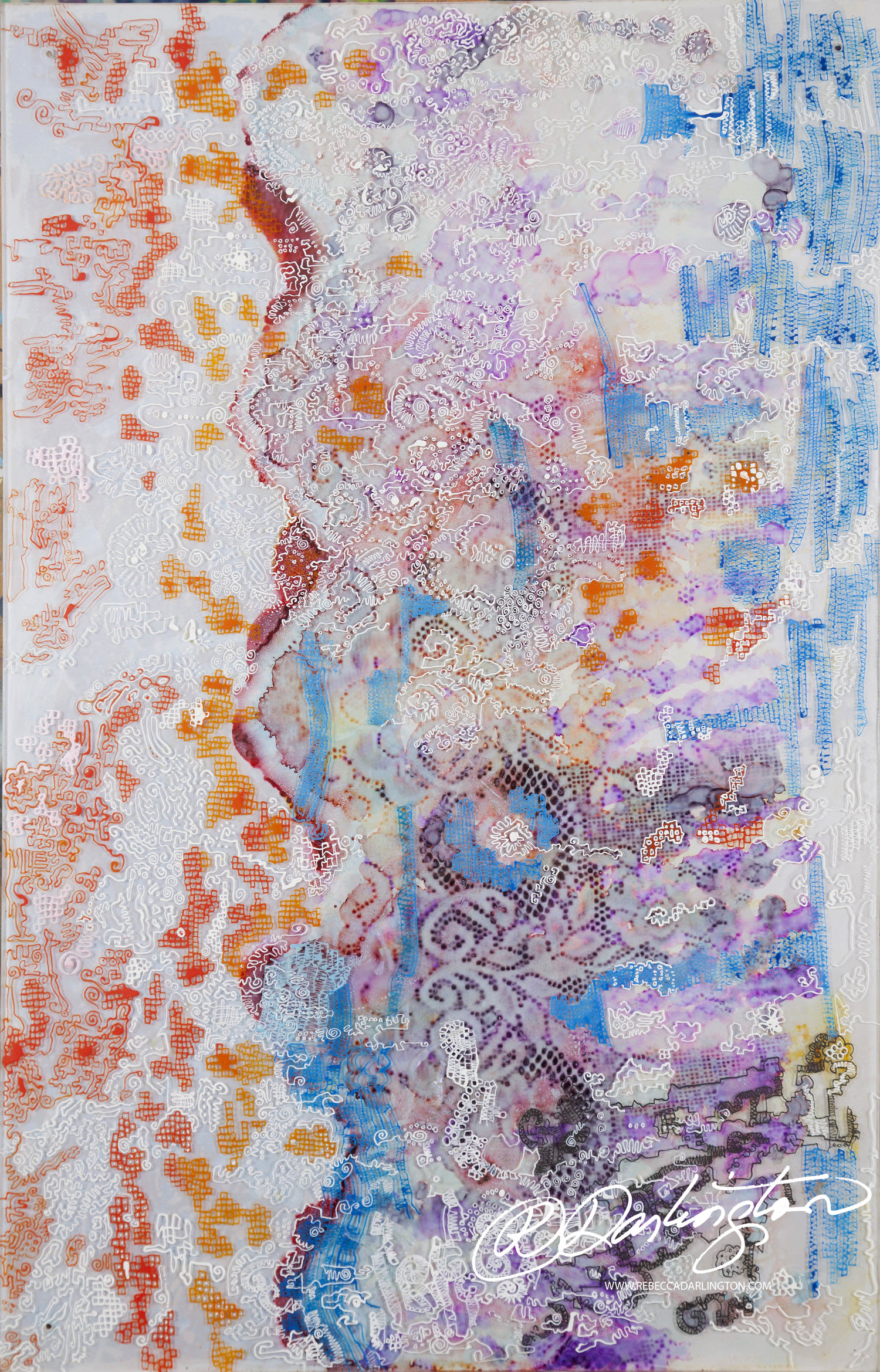 A Painting Using Encaustic, Oil Sticks, Plexiglass, displayed in New York City