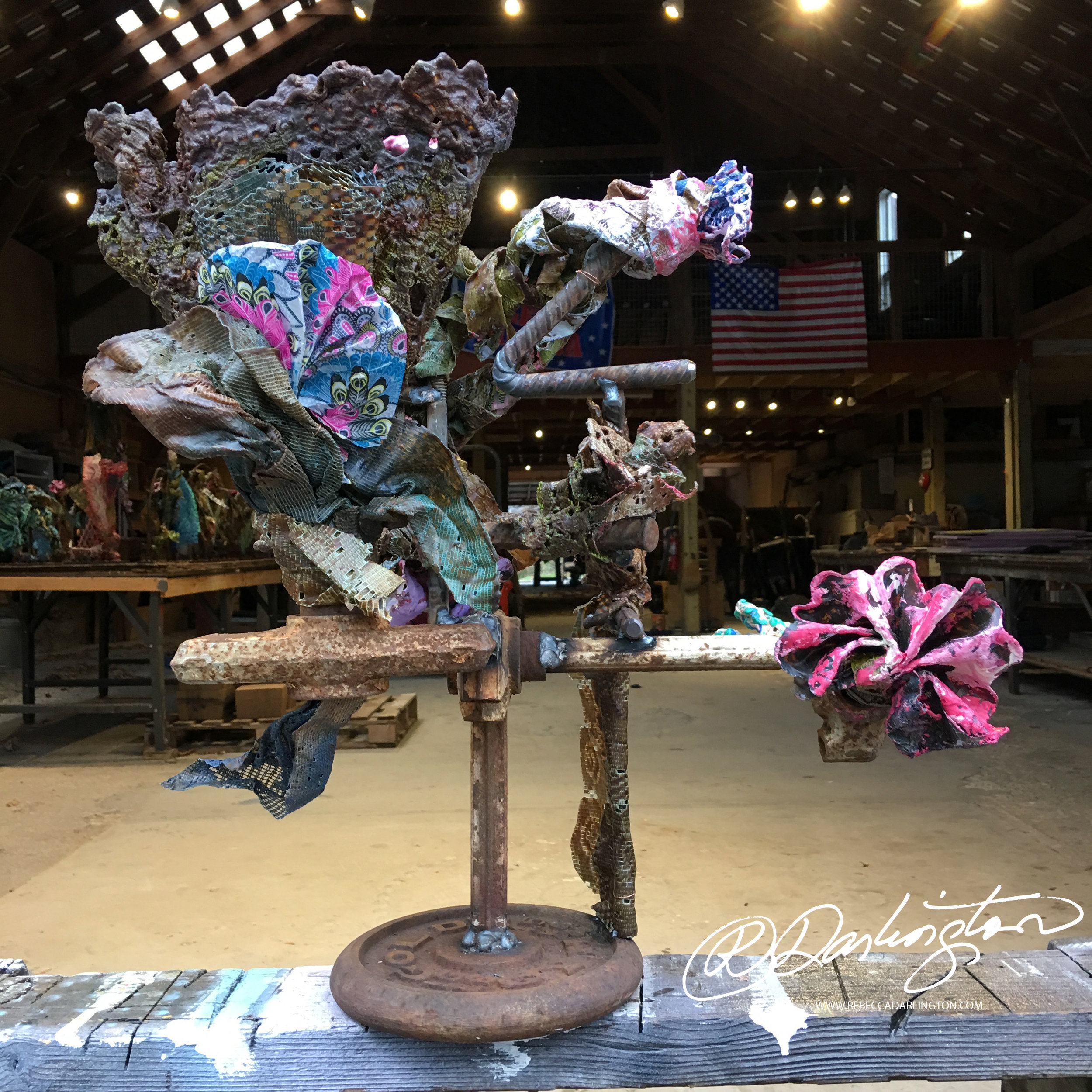 Darlington Artist in NYC displaying works using Encaustic, Lace, Resin, And Steel