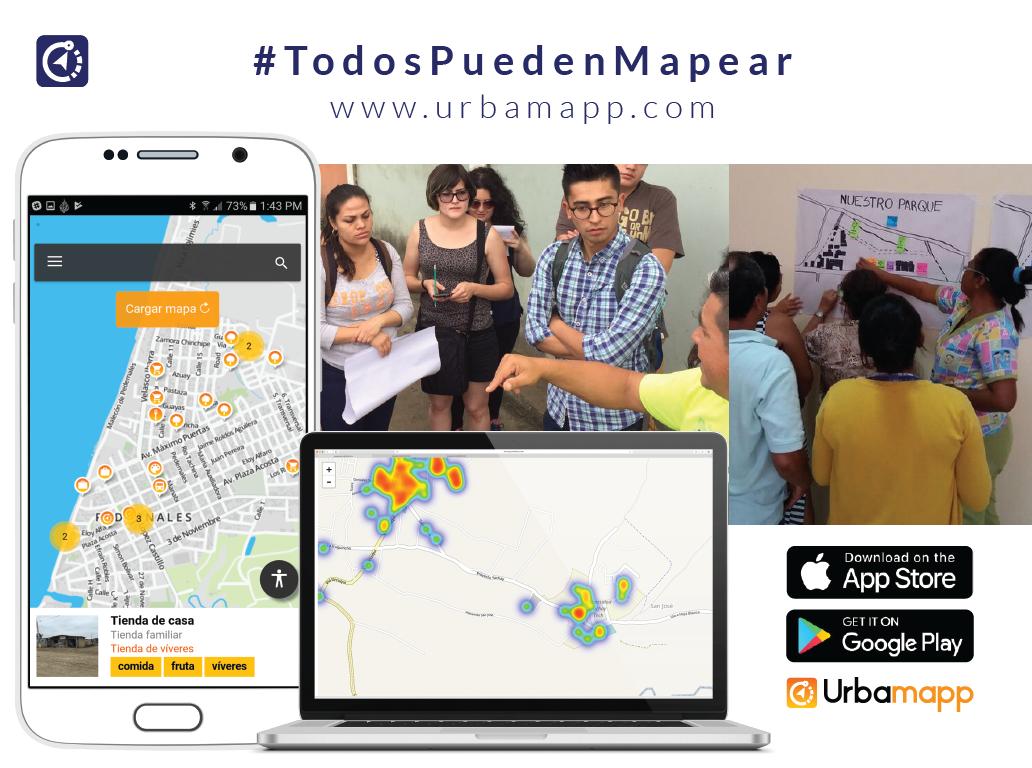 Urbamapp - Es una app y proyecto que se ha posiconado en la ciudad, fue expuesto por Ana María Quiroz,busca fomentar el mapeo colaborativo y levantamiento de datos mediante una aplicación móvil y web. Siendo su esencia la generación de información de forma rápida y en tiempo real. Urbamapp recalcó que se puede levantar información de forma abierta y que no ha sido recolectada antes con el uso de tecnología y herramientas abiertas como Open Street Map.