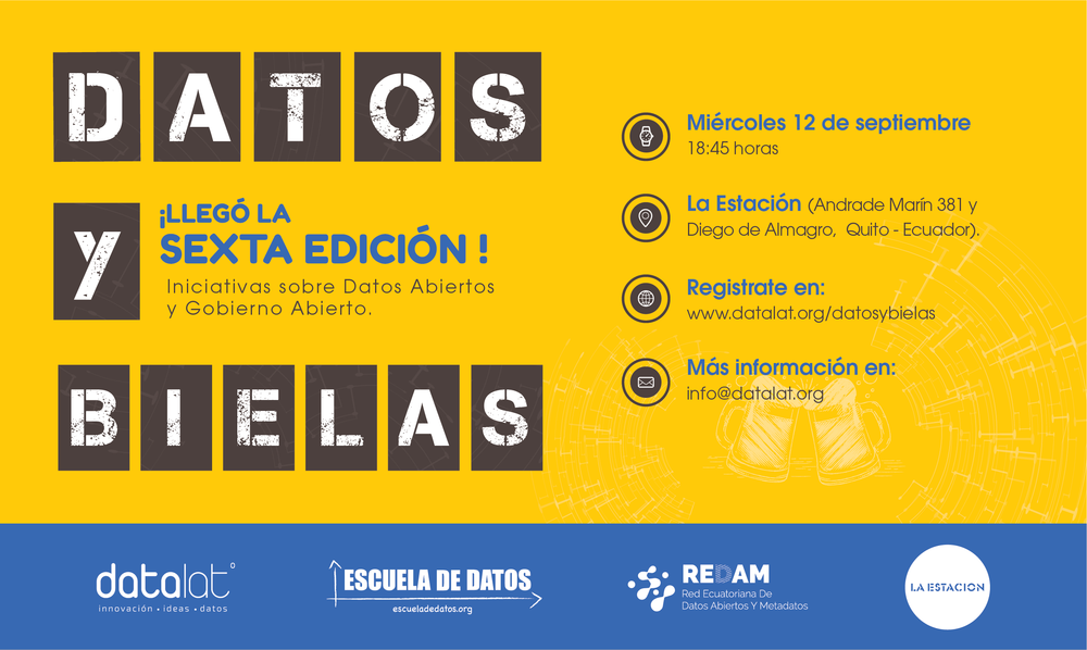 6to Datos y Bielas, iniciativas de datos abiertos y Gobierno Abierto - El concepto de Gobierno Abierto se sustenta en 3 pilares básicos: la Transparencia, la Colaboración, la Participación.En esta ocasión tratamos la incorporación de Ecuador a la Alianza de Gobierno Abierto (OGP). Además se presentó la Red Ecuatoriana de Datos Abiertos y Metadatos (REDAM).