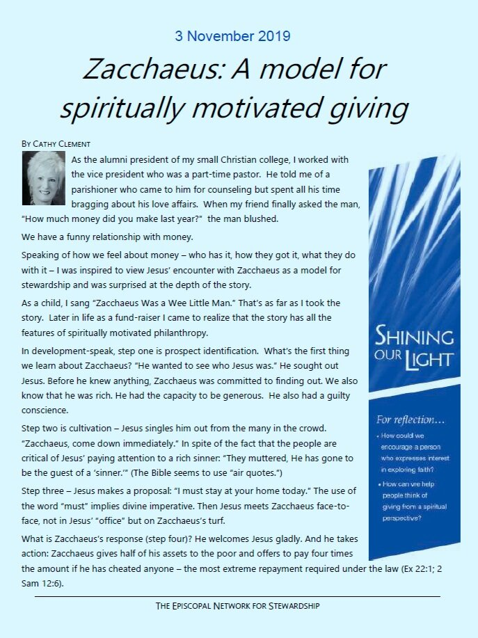 Week 3:  A model for spiritually motivated giving