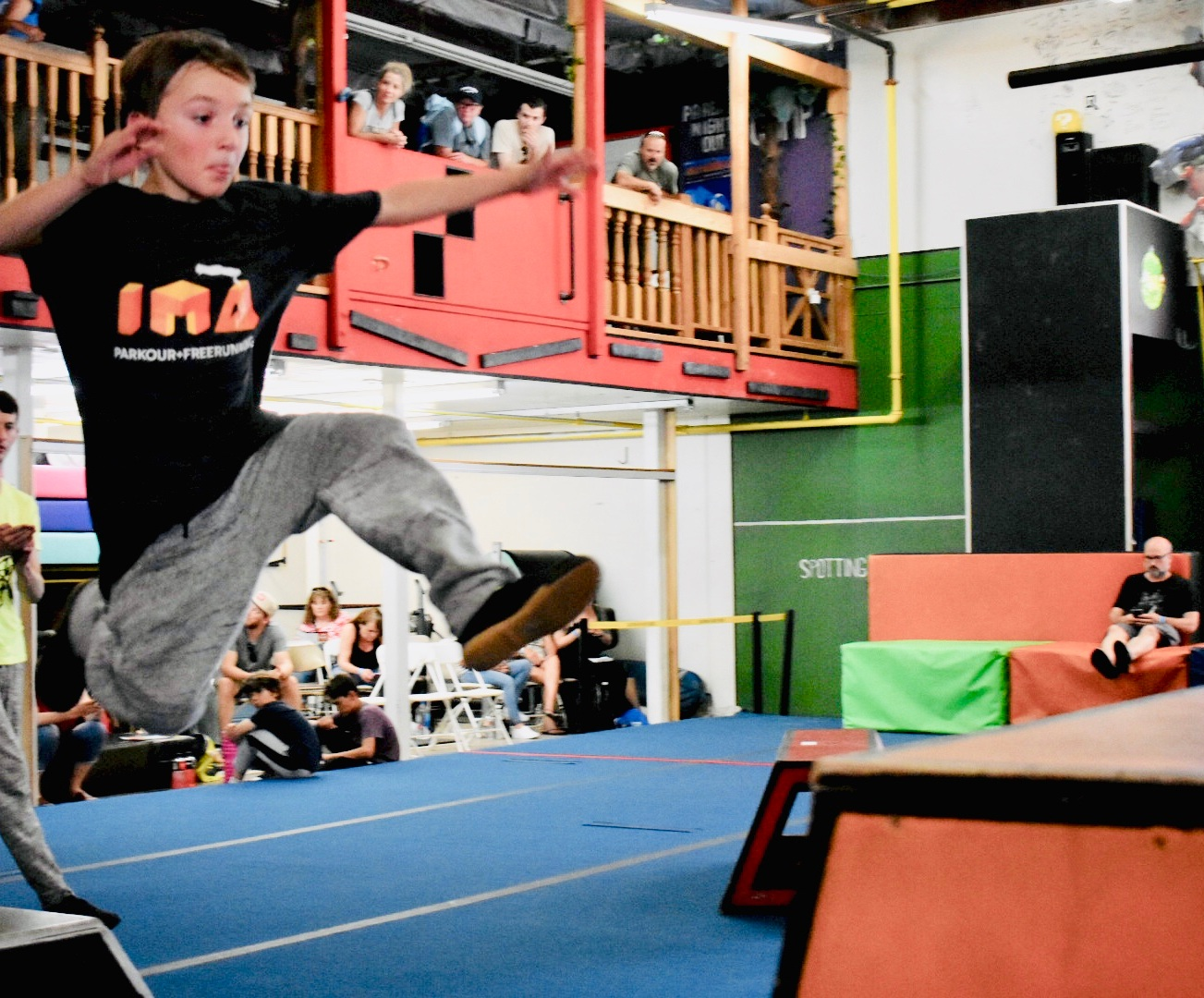IMA student athlete Rhys Nutter competing in a Speed event during the West Coast Parkour Championships in Santa Ana.