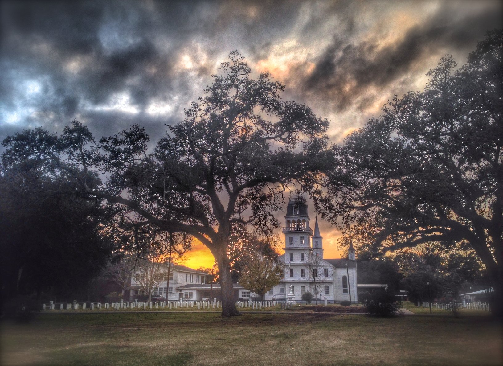 An Iphone photo of the historic St. Charles Church in Grand Coteau, LA