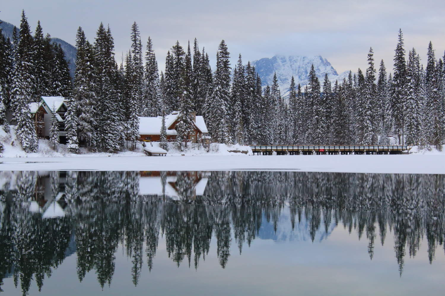 Looking across Emerald Lake