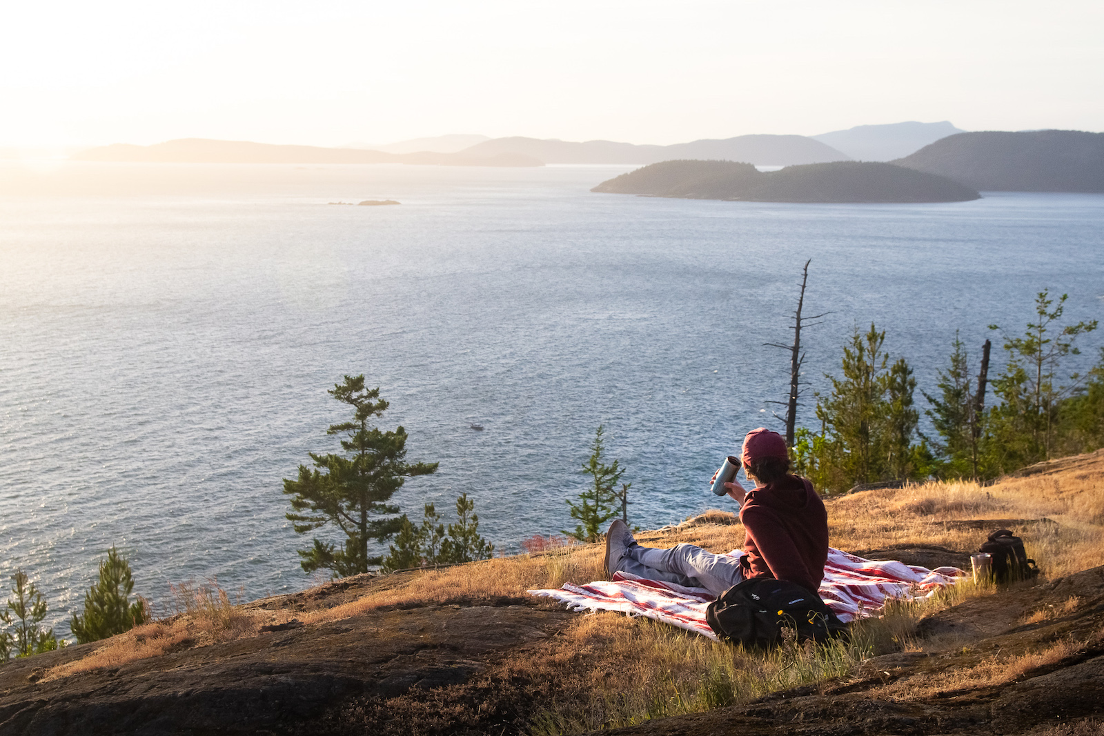 Sunset picnic at Sares Head in Anacortes, Washington.
