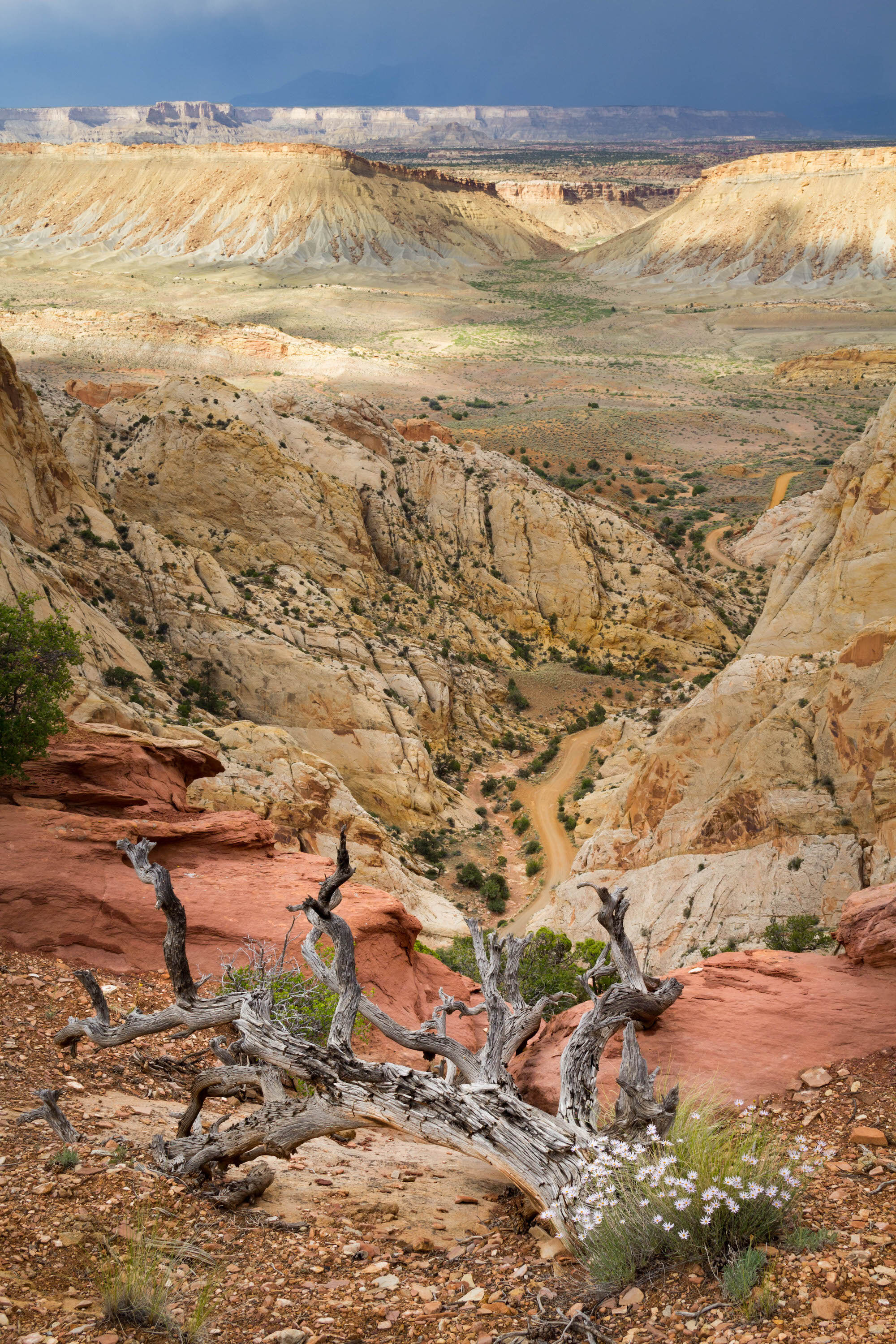 The bottom of the Burr Trail Road leading into Capitol Reef National Park