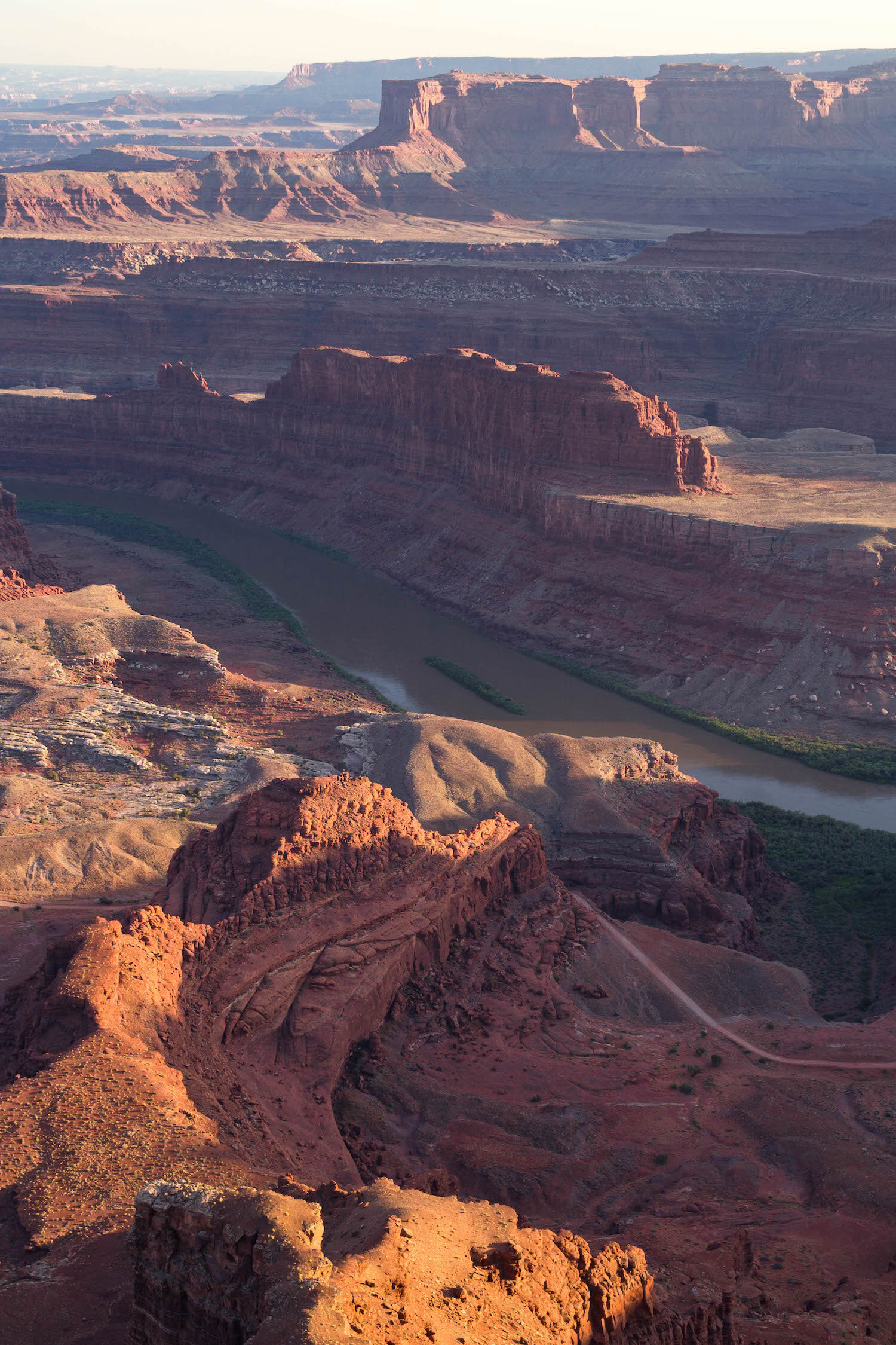 Looking at the Colorado River from Dead Horse Point State Park at sunset.