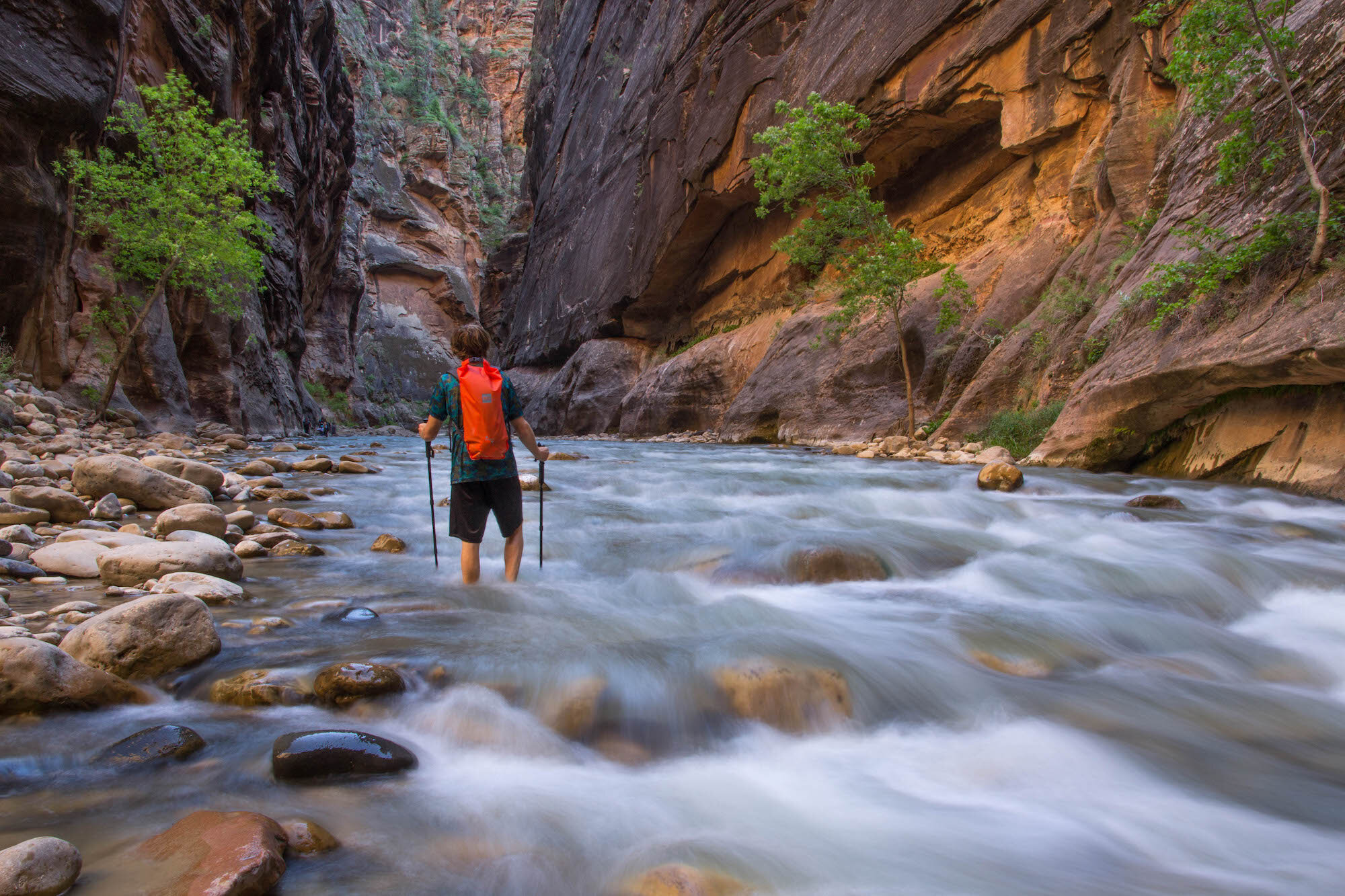 Hiking into The Narrows in Zion National Park