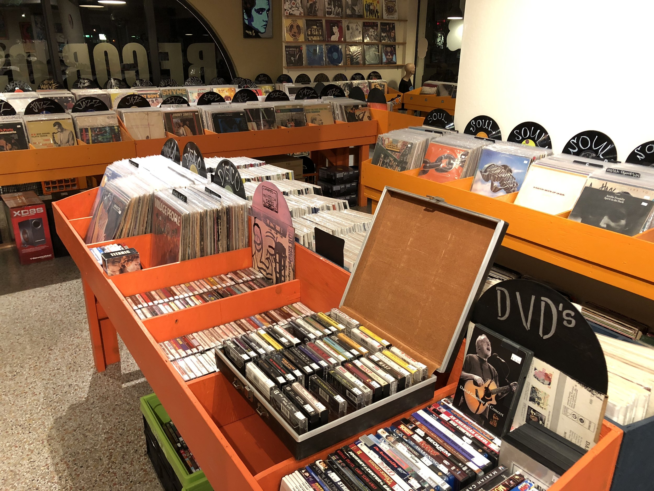 CASSETTE TAPES AND DVDS