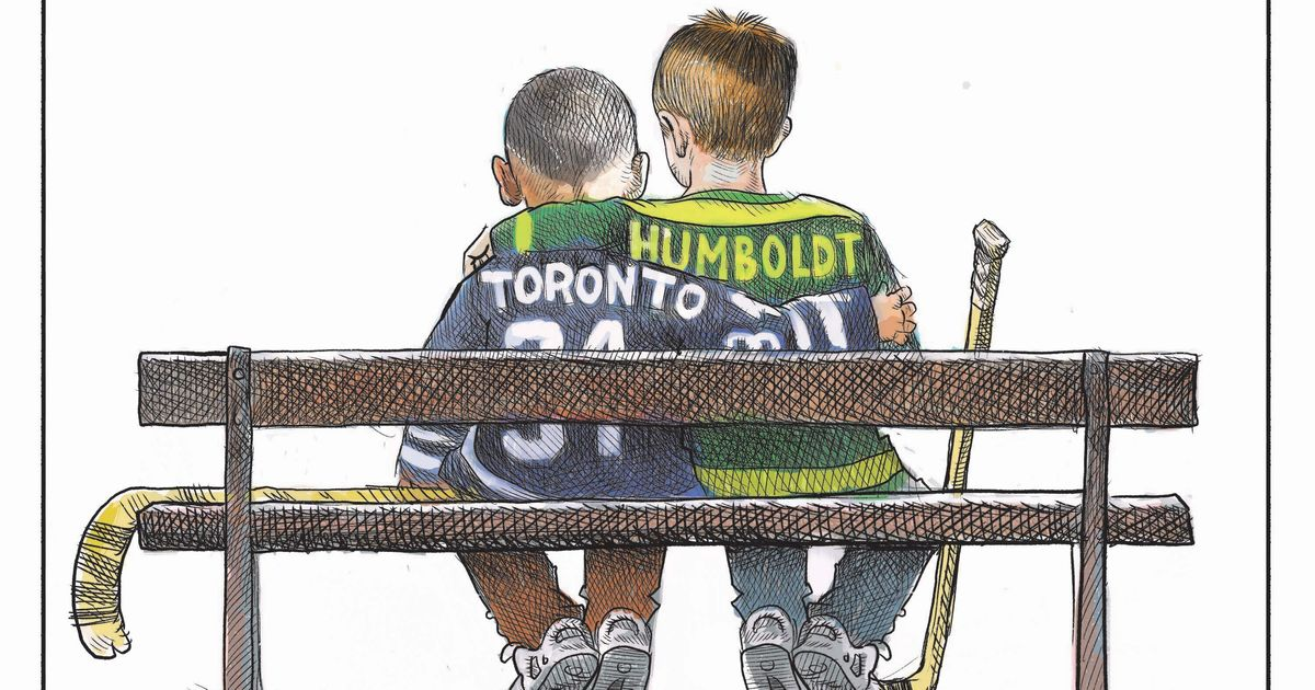 """On the heels of the Toronto van attack that killed 10 and the Humboldt Broncos tragedy that killed 16, de Adder's image captures the feelings of Canada """"trying to inject some positivity into such a sad situation"""""""