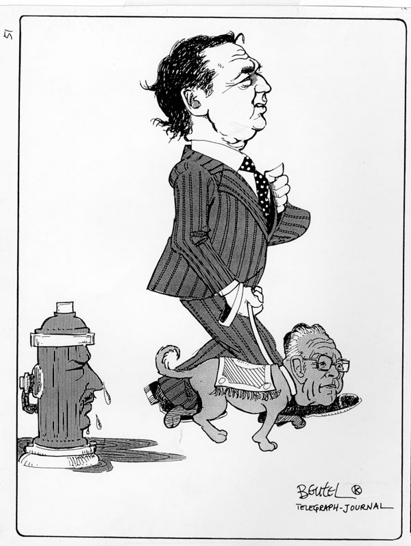 Some readers may remember the stir this edgy cartoon by Josh Beutel caused back in the 70's. It depcied then Premier Richard Hatfield leading Liberal turned Tory Robert McCready, after McCready agreed to accept the position of Speaker, allowing Hatfield government to survive. Liberal leader Joe Daigle is depicted as the hydrant.