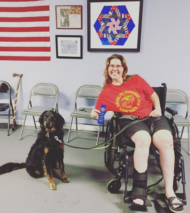 A little thing like a wheelchair and an injury didn't stop April and Sadie from passing their Canine Good Citizen test! Although not much stops a lady Marine ;) Great job guys!  #congratulations #femaleveteran #marines #shelterdog #servicedog #servicedogintraining #ptsd #ms #dontstopwontstop #518 #518dogs #caninegoodcitizen #awesome #staytuned