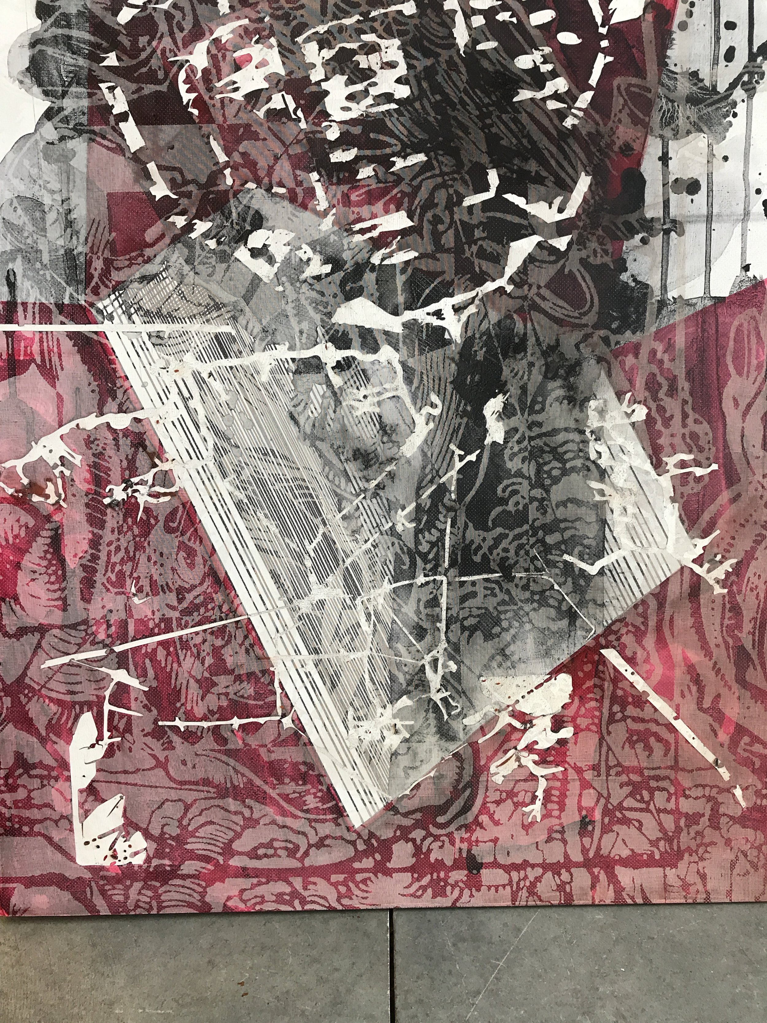 """After some experimentations with materials, I have migrated printmaking processes to """"hard"""" surface like gessoed panels thus opening a dialogue to erase strict definitions of what is a print and what a painting is. This specific work is bringing the old master Durer to today's personal interpretation."""