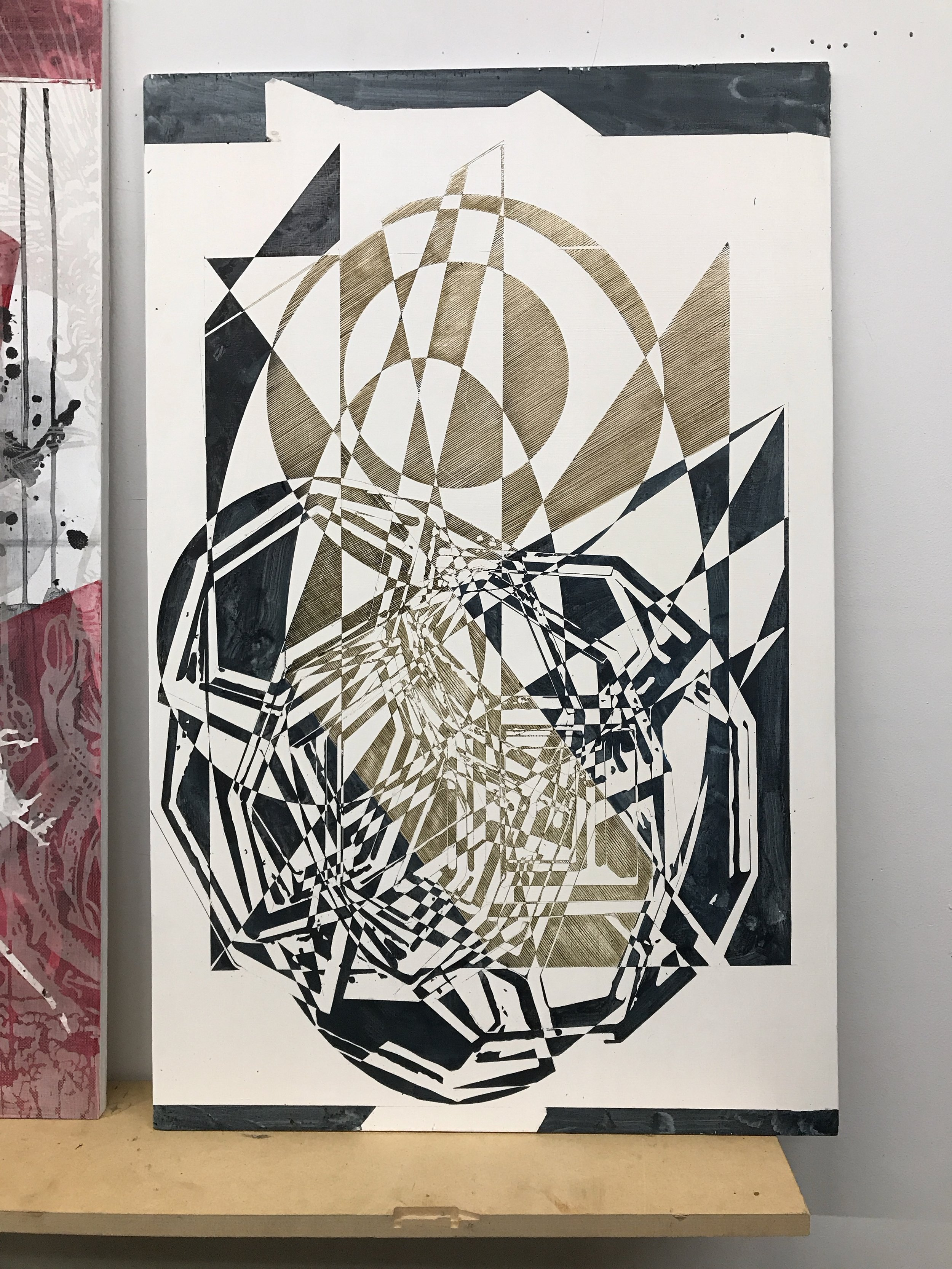 From the same 2017 summer series. Gold and Gray paint over toner drawings after a meticulous vinyl pieces removal.