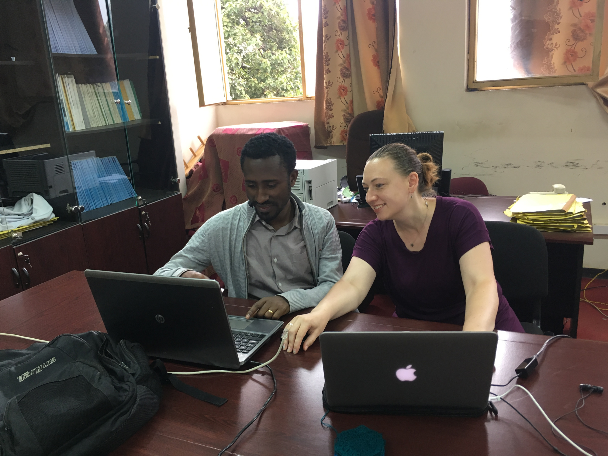 Adino and I preparing for the upcoming rural health center visits