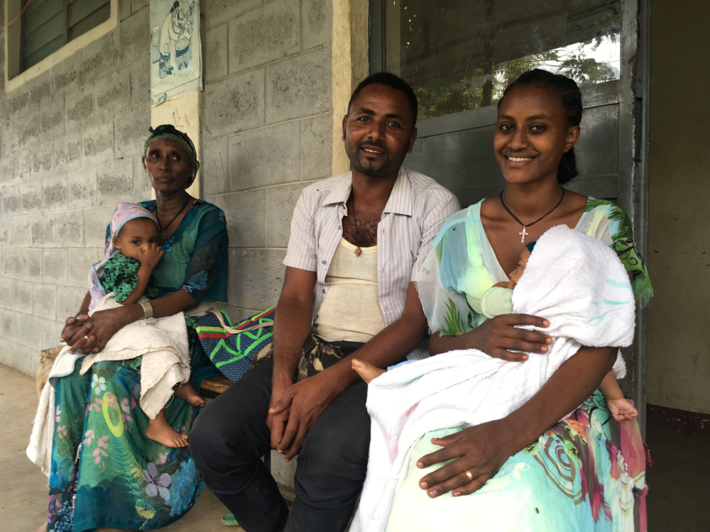 Family members wait for news about the birth