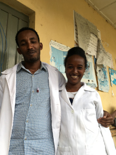 Elizabeth the midwife- posing with a colleague