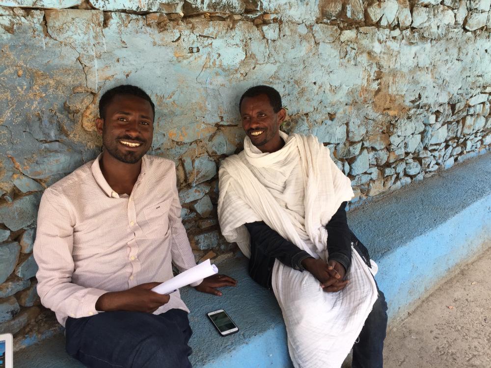 Adino and Memhir Tsigemariam Tibebu post-interview