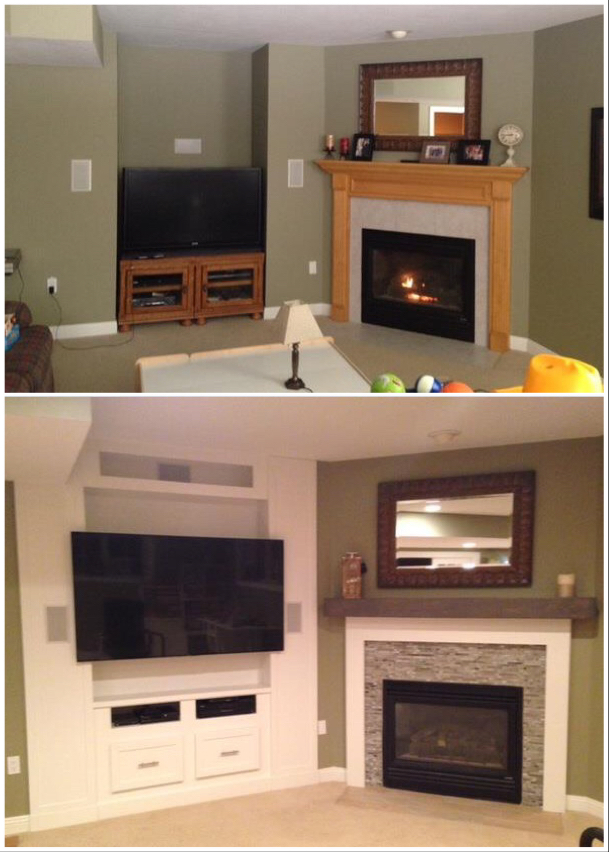 Bookshelves and Fireplace Surround - Before and After