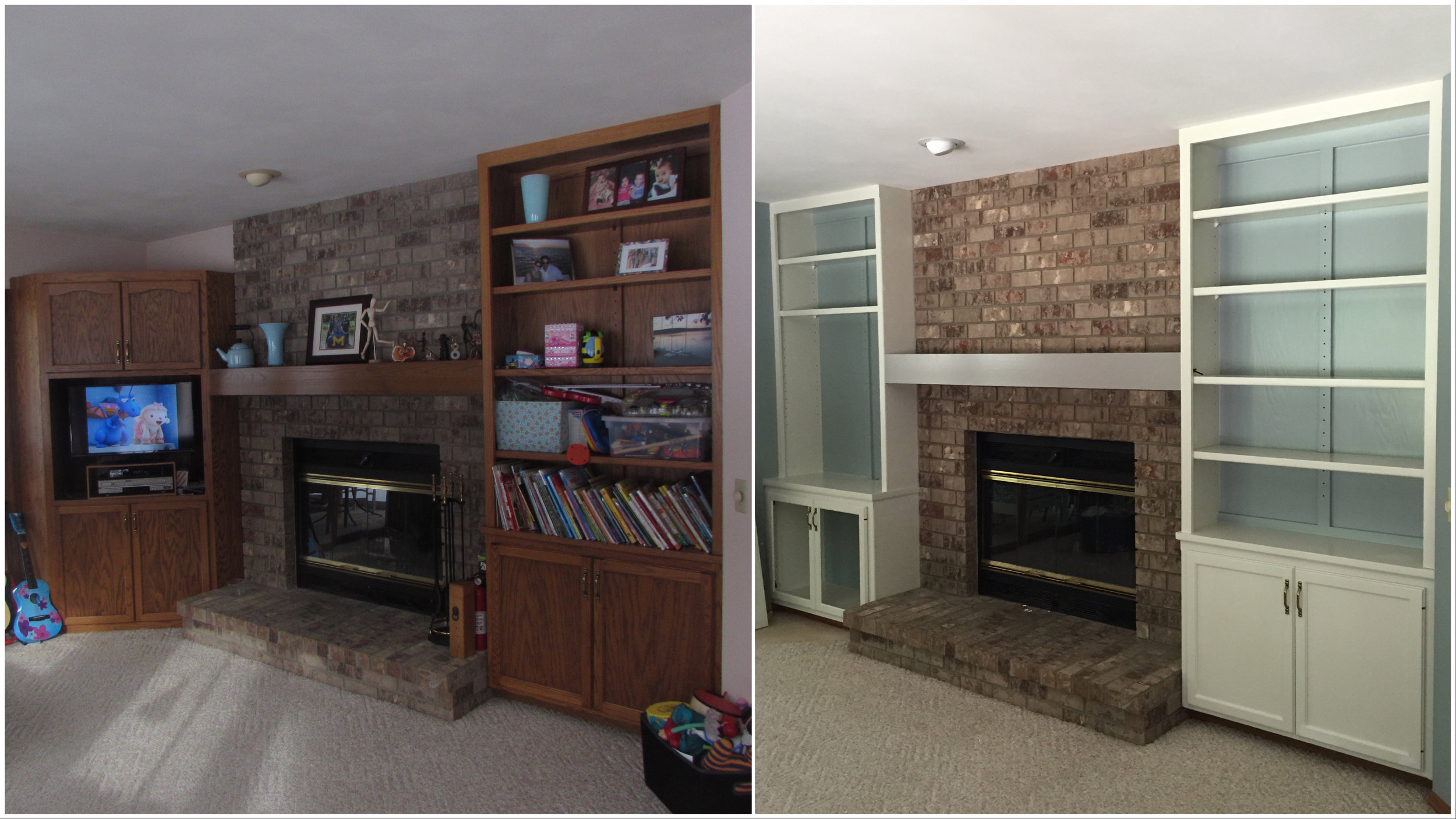 Fireplace and Bookshelves - Before and After