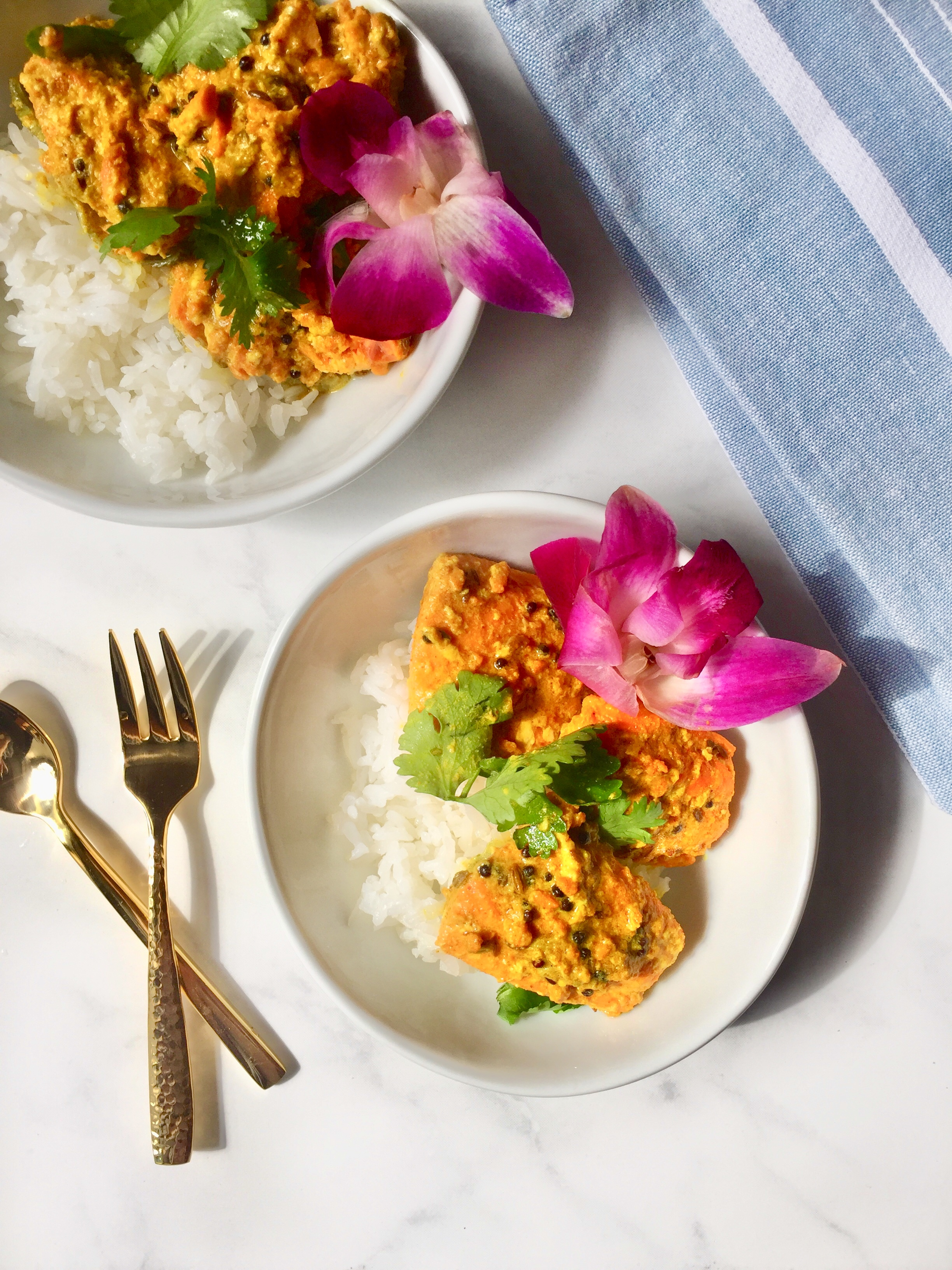 spicy bengali salmon with a golden turmeric & mustard seed sauce (shorshe jhol)