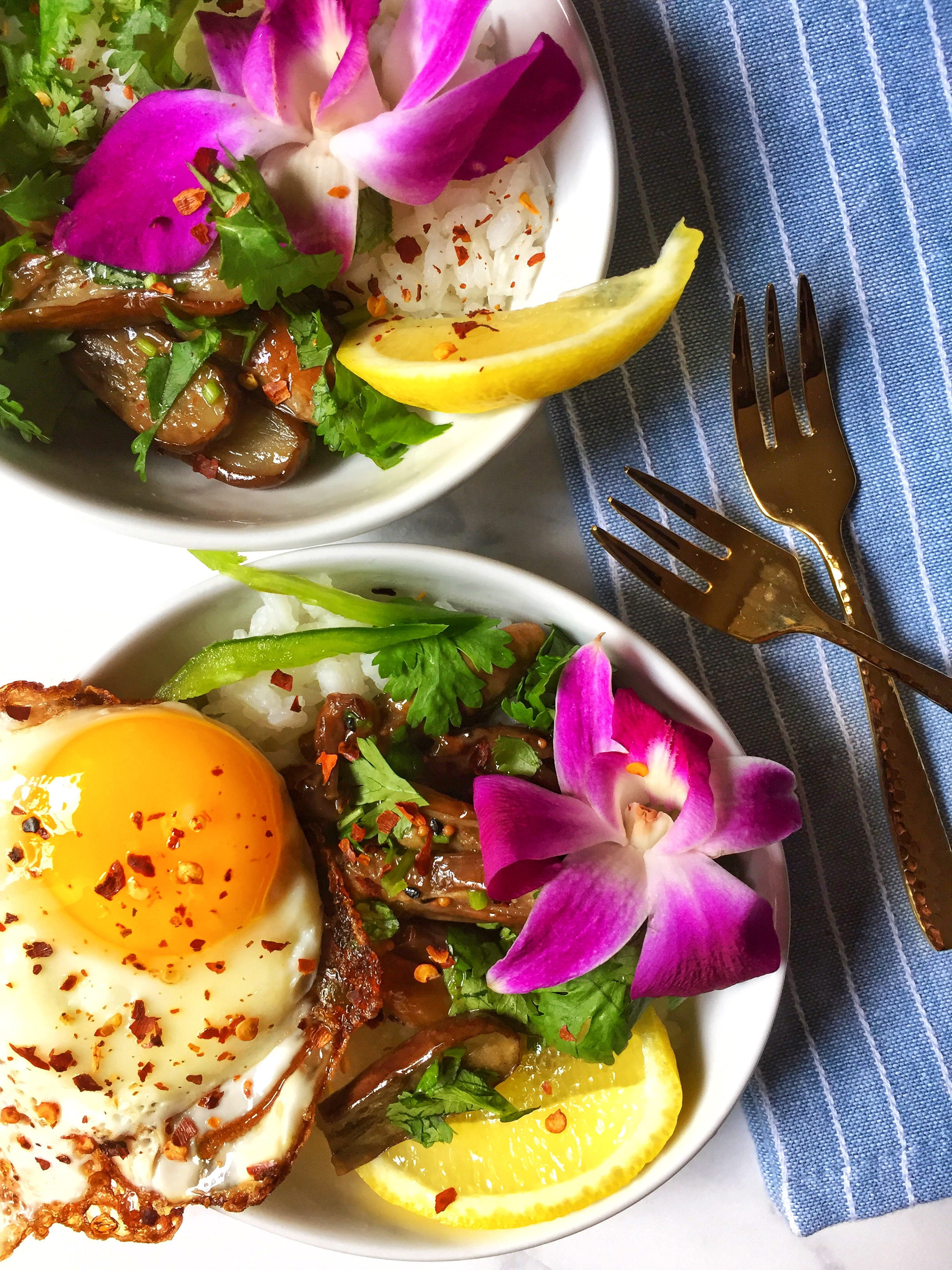 tangy, sweet, and spicy tamarind eggplants with jasmine rice, chili, and a crispy fried egg ~
