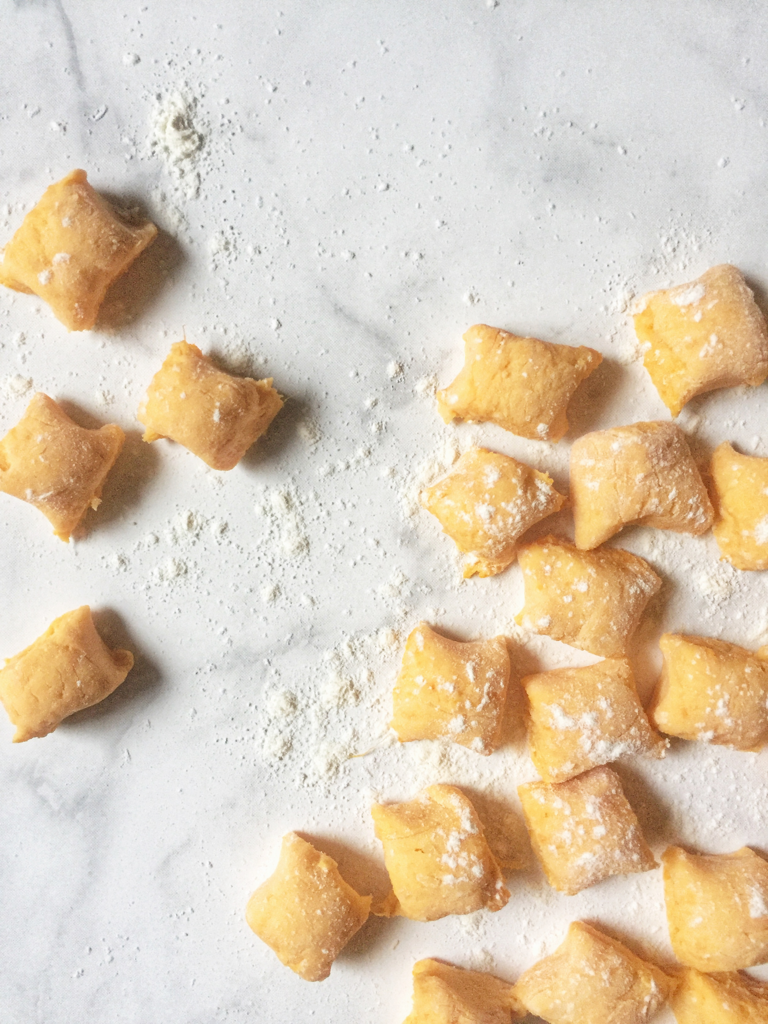 pillowy clouds of homemade sweet potato gnocchi ~