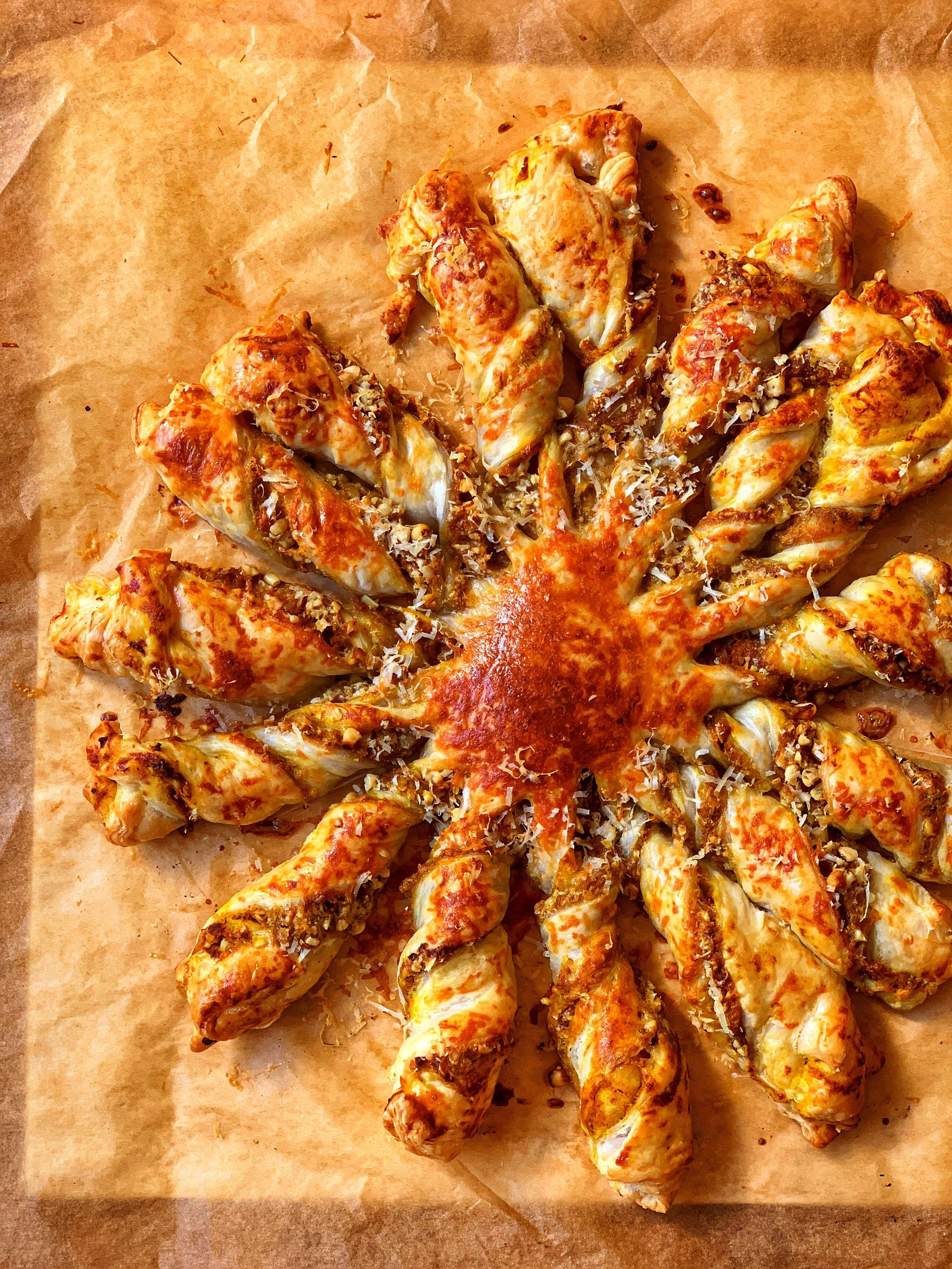 savory pumpkin & sage tarte soleil with pine nuts
