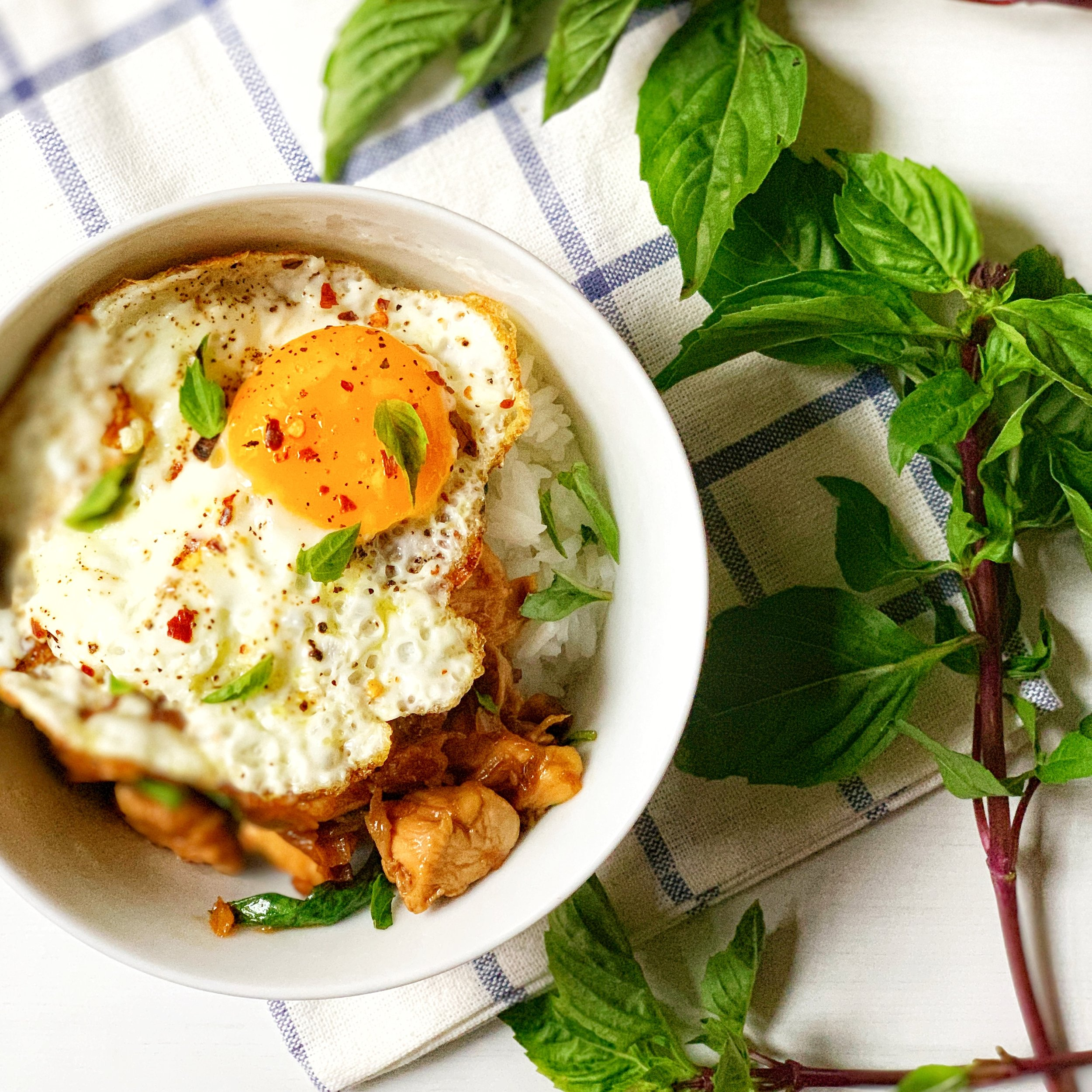 in the time it takes you to cook thai basil chicken, you can also make a pot of rice ~