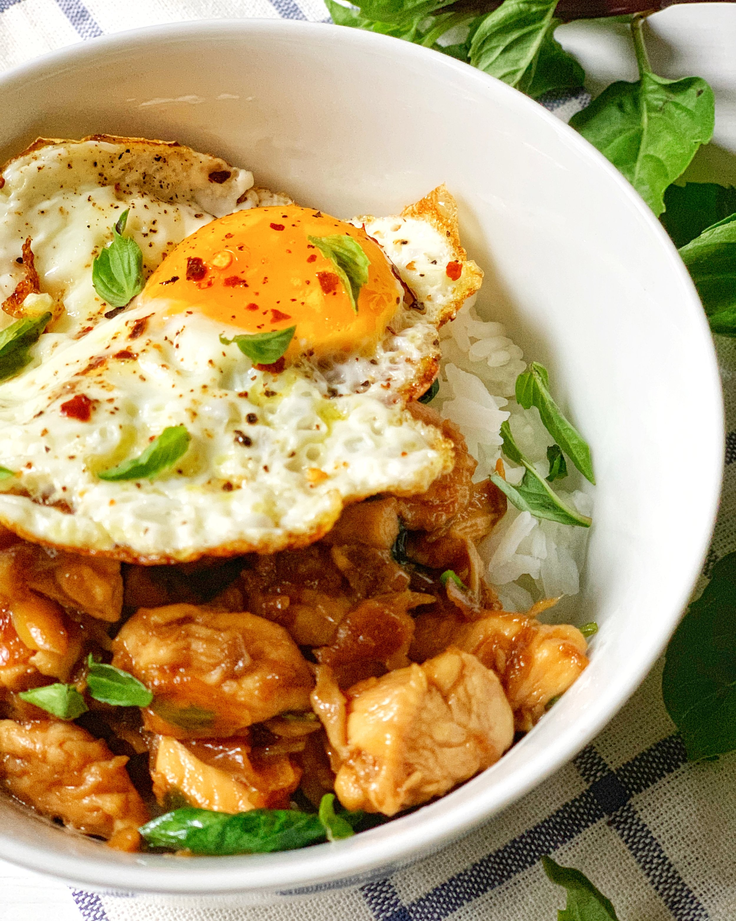 quick thai basil chicken with chiles, garlic, and shallots served with warm jasmine rice and a crispy fried egg ~