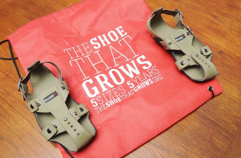"Invented by Kenton Lee, ""The Shoe That Grows"" is perfect for warmer climates like Zambia and Malawi and last up to 5 years!"