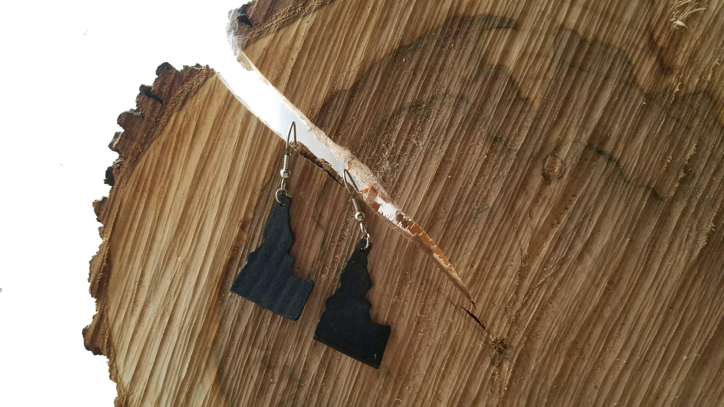 Handmade bicycle tube earrings in the shape of Idaho by  Katrina Schiermeier