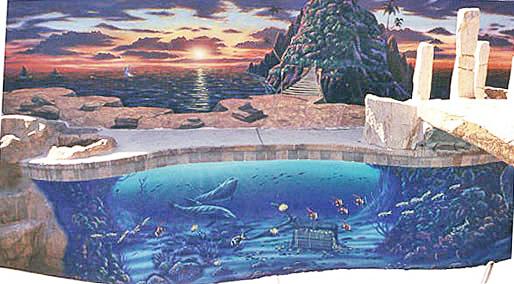Mural on Pool Bottom and Backyard Retaining Wall