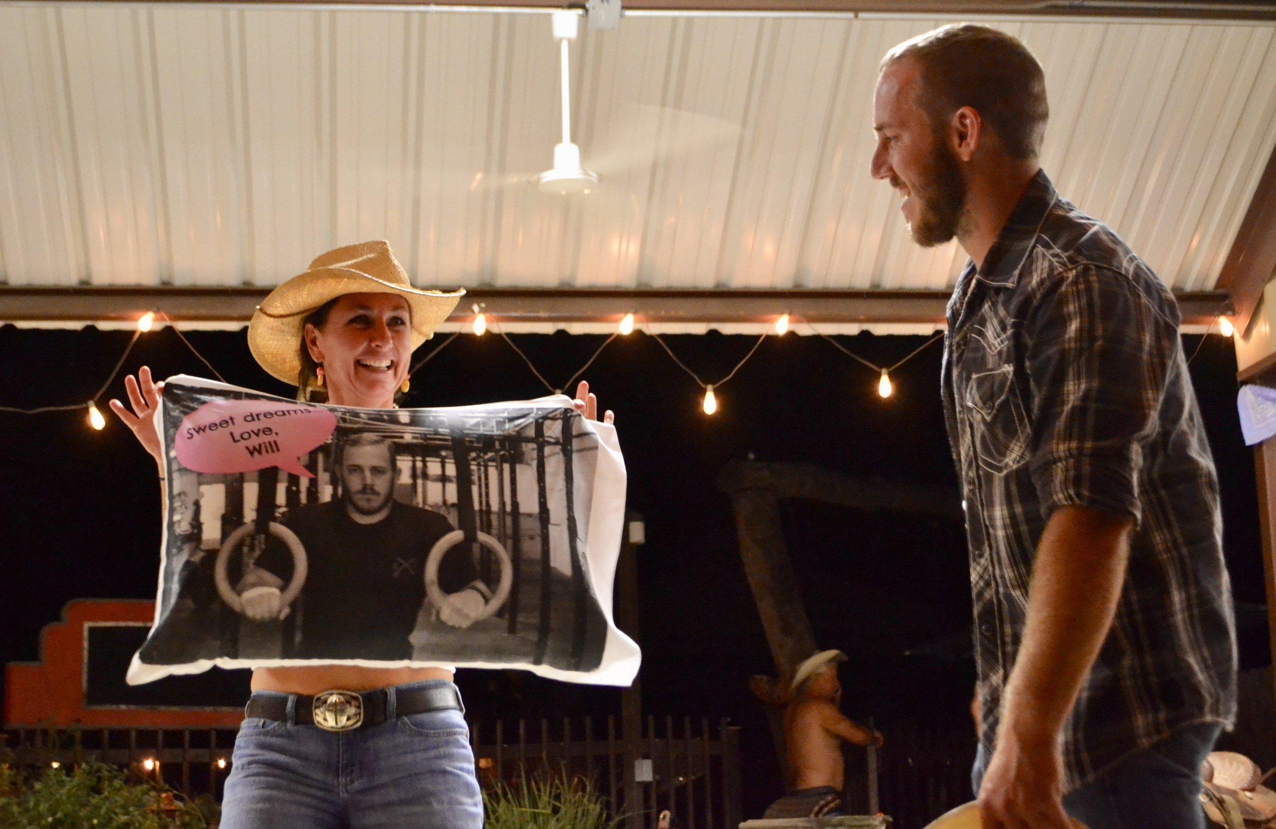 Beth wins a door prize!  2017 Anniversary Party