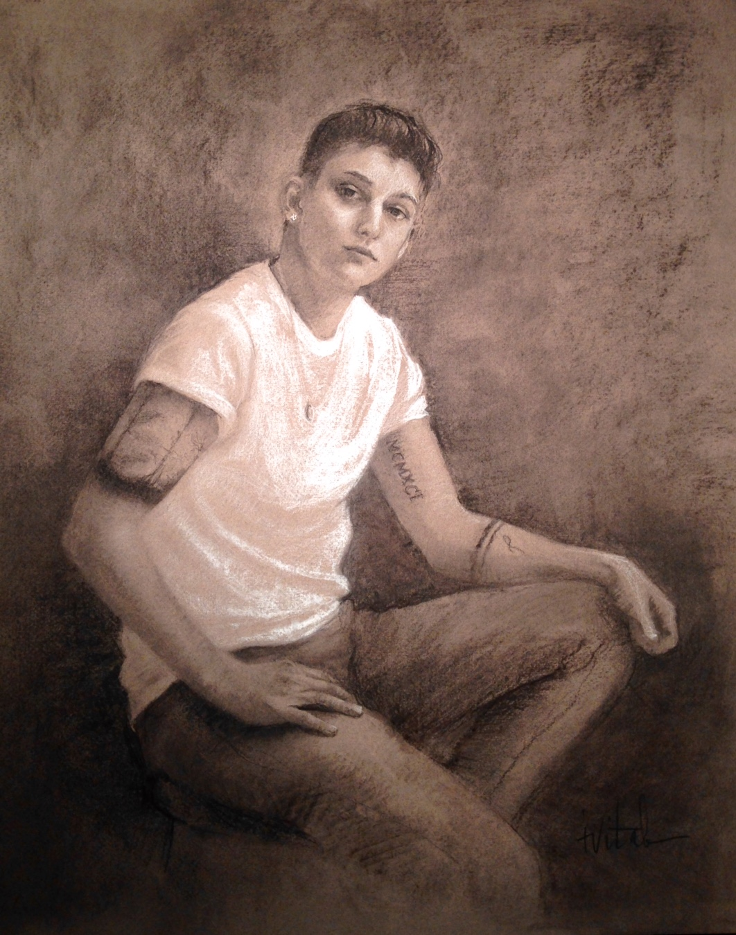 """Tess , charcoal on Canson, 24.5 x 27.5"""""""