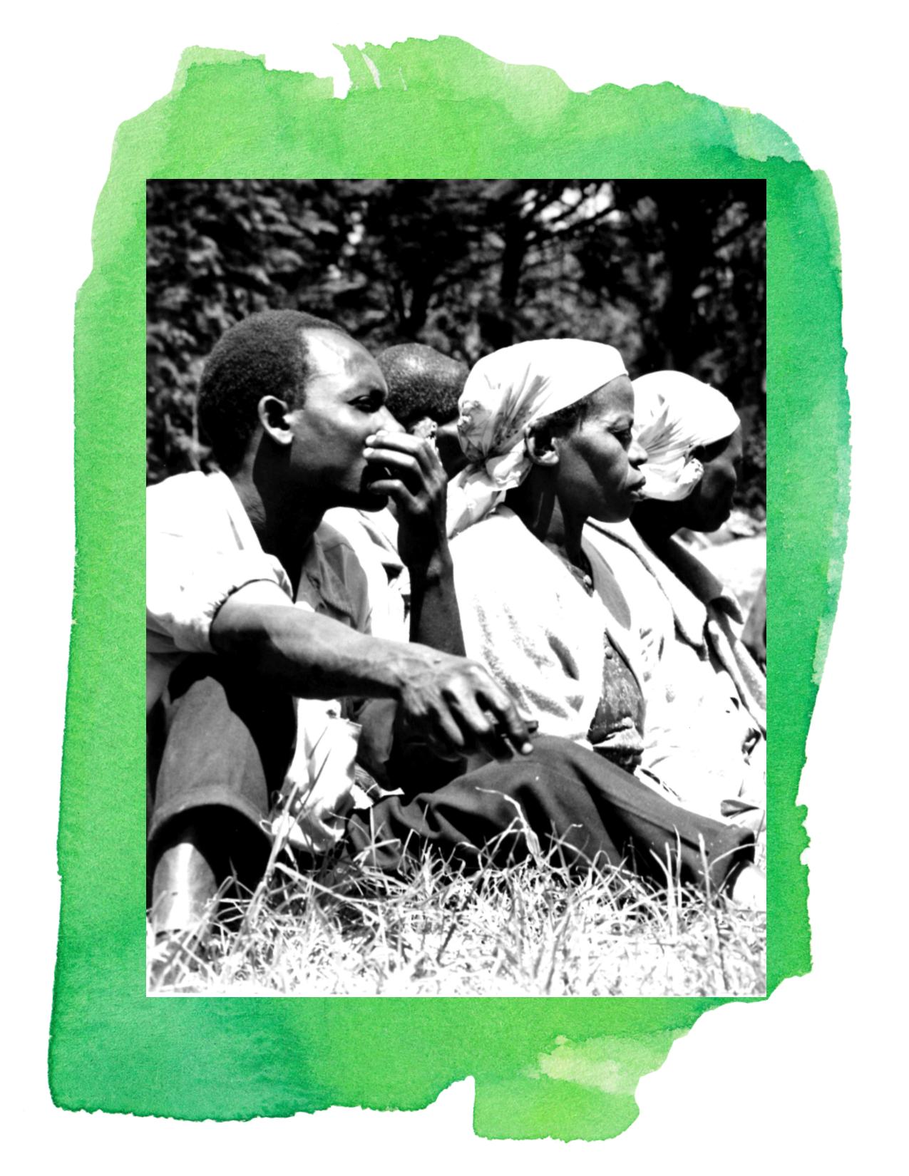 Settlers at a settlement scheme meeting.
