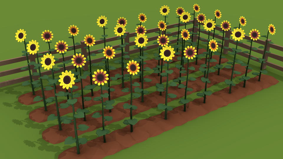 Sunflower Farm: Testing visuals for setting up simple farming.