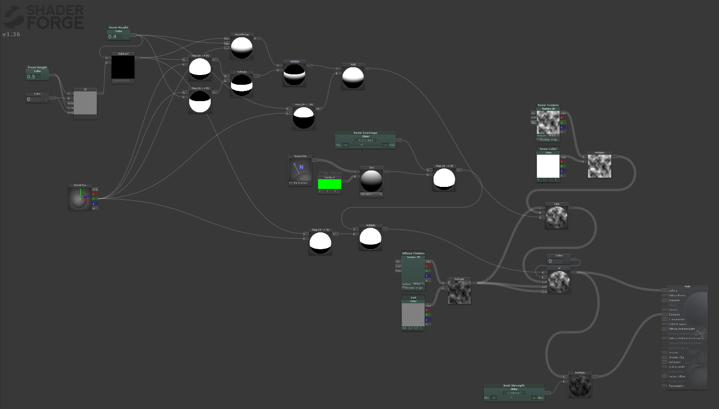 The final shader all wired up in shader forge.