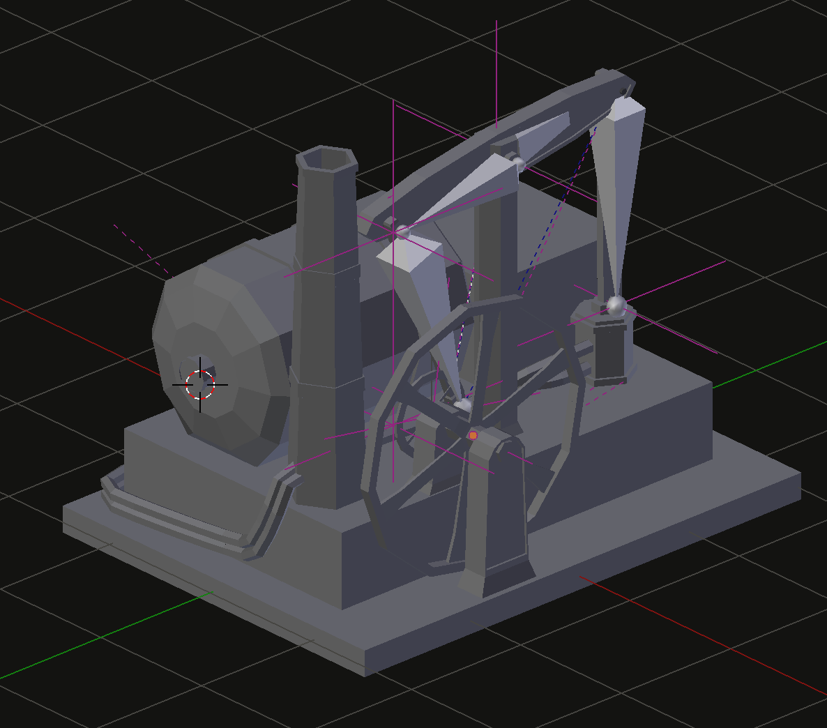 A view of the rig in Blender.