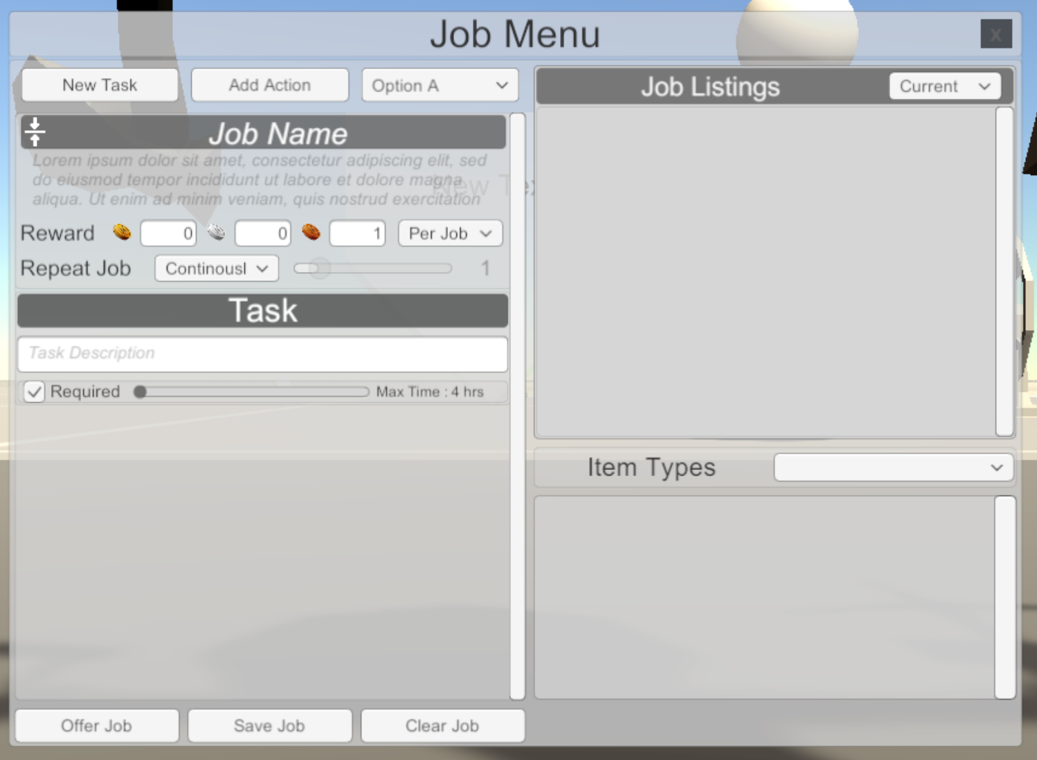 The ugly current state of the Job Menu