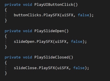 "Calling the ""PlaySFX"" function for different actions."