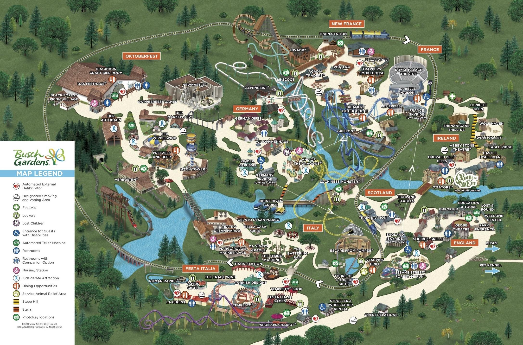 BUSCH GARDENS WILLIAMSBURG PARK MAP, ALL CREDIT TO BUSCH GARDENS