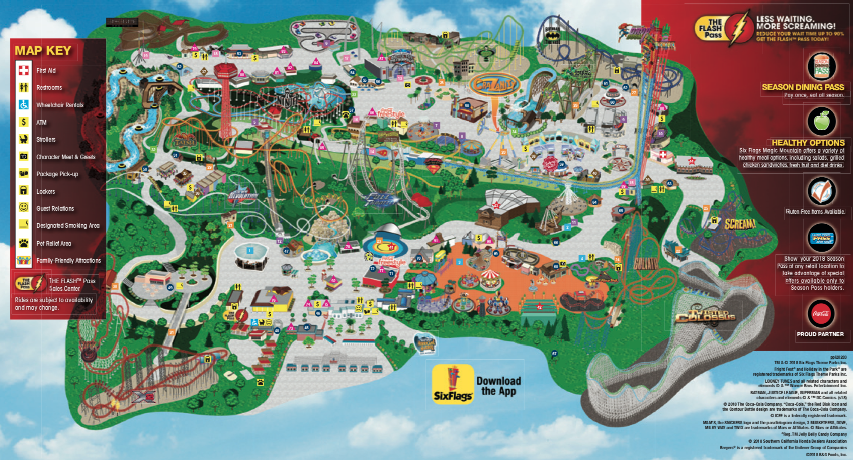 SIX FLAGS MAGIC MOUNTAIN PARK MAP, ALL CREDIT TO SIX FLAGS