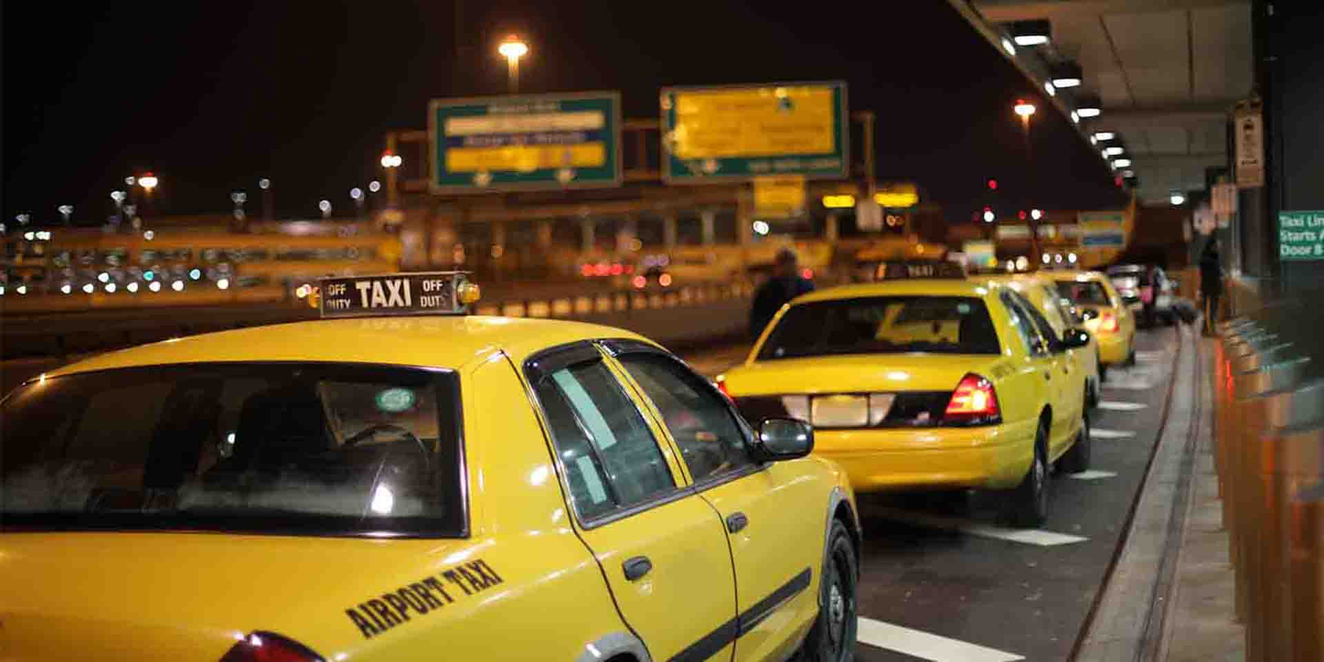 Newark Airport has taxi stands in every Terminal, just follow the taxi signs.