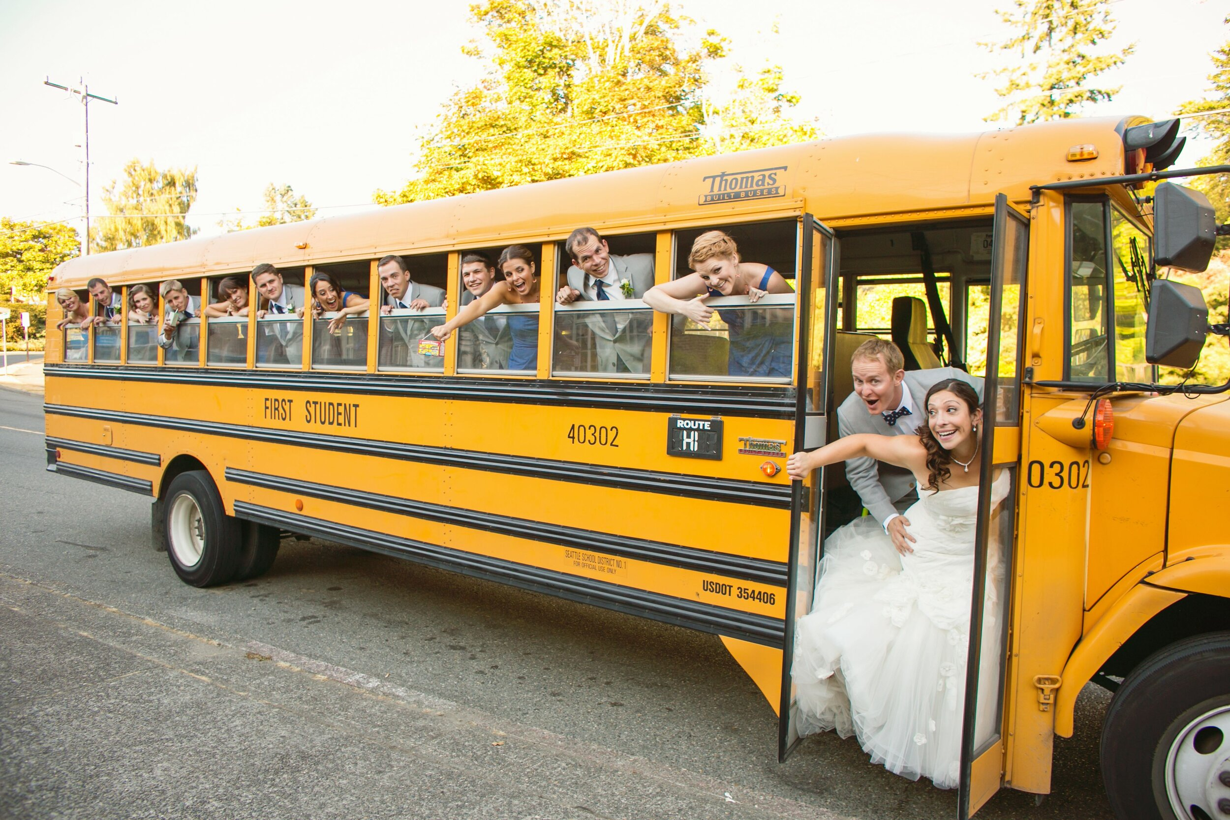 School Bus Rental - School Buses are frequently used for weddings, short trips, shuttling services, etc. They are cheaper than charter buses, but lack amenities. School buses fit up to 60 people.