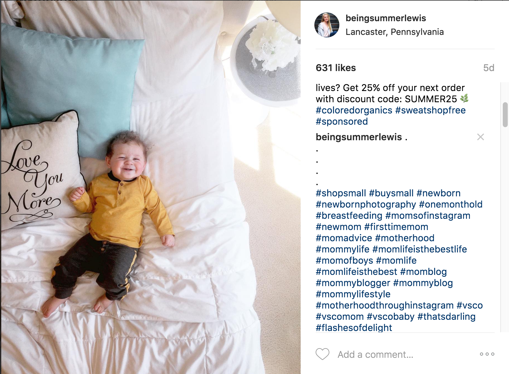 This is how I like to format my hashtags. When doing a sponsored post, I always add the brand's hashtags in my caption. All other hashtags I place in the comment below.