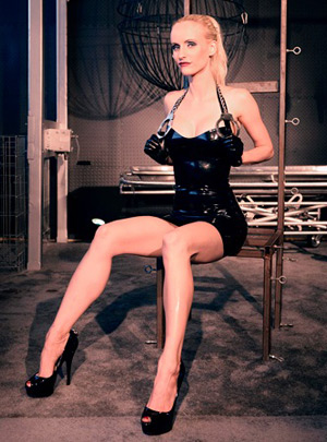 Victoria in a Syrene latex dress, Den of Iniquity, Los Angeles