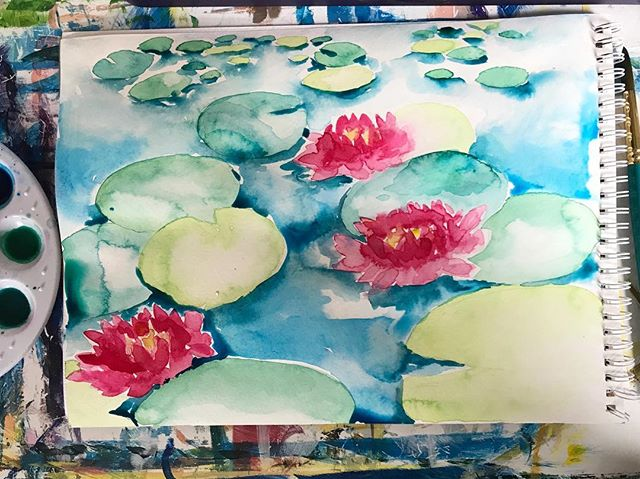 Getting washy with it today for the watercolor painting class! 🎨 ☔️