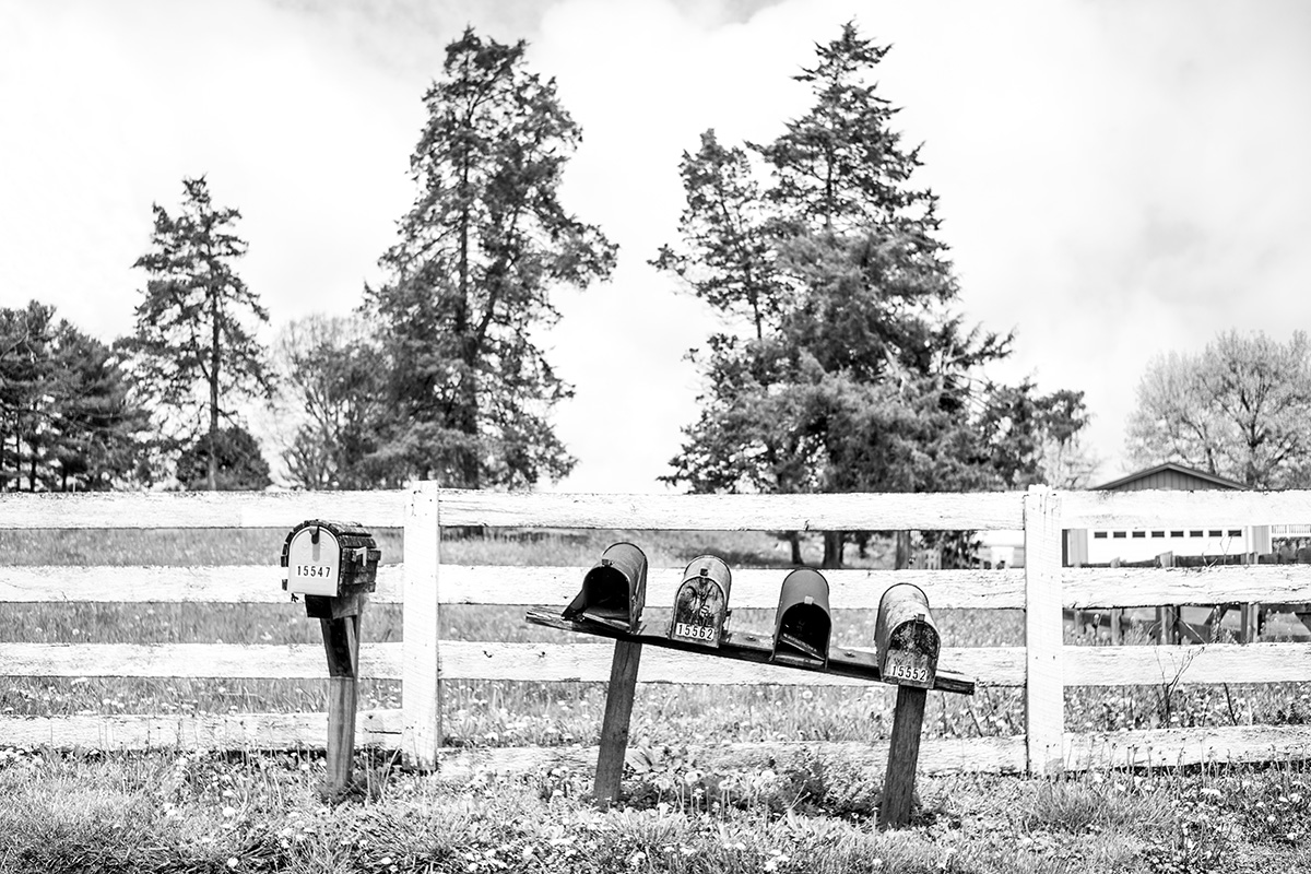 Mailboxes in front of farm, Elkton, Virginia VA, USA by Leica Photographer Manuel Guerzoni